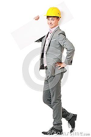 Businessman in hard hat