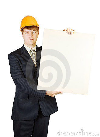 Businessman in hardhat holding banner
