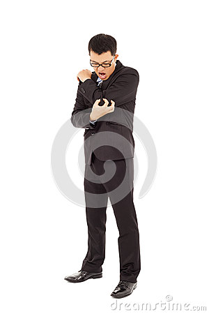 Businessman having  elbow pain