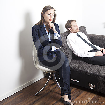 Businessman having psychoanalysis