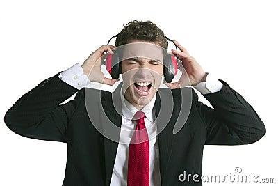 Businessman headphones noise expression gesture