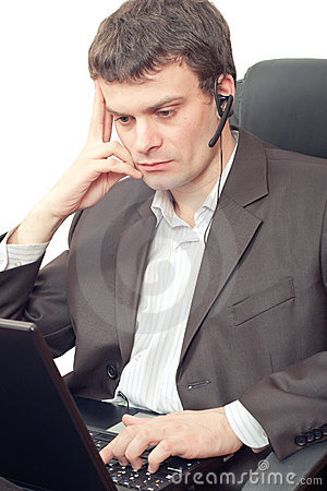 Businessman with headset.