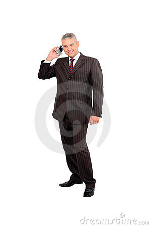 Businessman hearing a smart phone