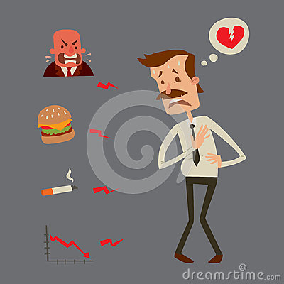 Free Businessman Heart Risk Man Heart Attack Stress Infarct Vector Illustration Smoking Drinking Alcohol Harmful Depression Royalty Free Stock Photo - 86833305