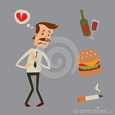 Free Businessman Heart Risk Man Heart Attack Stress Infarct Vector Illustration Smoking Drinking Alcohol Harmful Depression Stock Photography - 87313242
