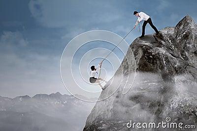 Businessman help his partner