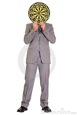 Businessman Hiding Behind Dartboard