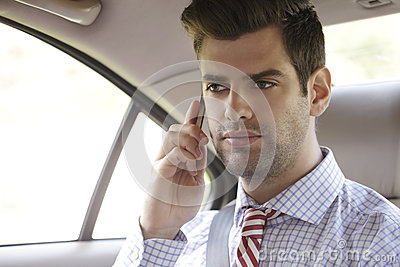 Businessman in his car