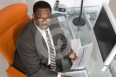 Businessman at His Desk