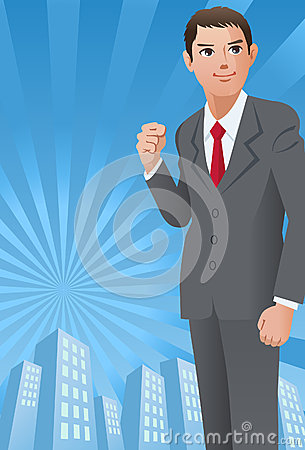 Businessman with his fist up