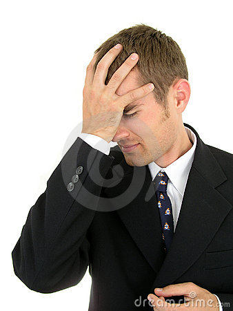 Businessman with his hand on his head