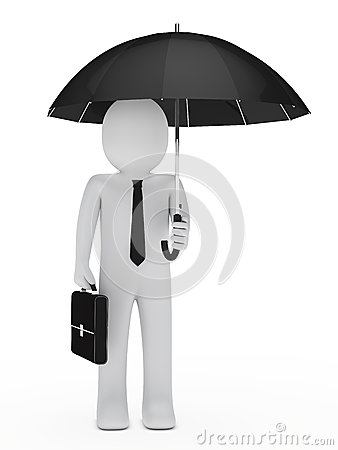 Businessman hold black umbrella