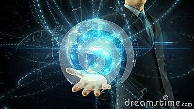 Businessman hold over hand global digital network. Businessman hold over hand animated global digital link social network media and internet network concept over