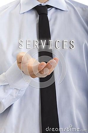 Businessman hold services concept