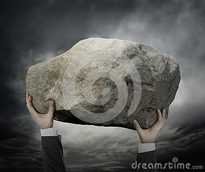 Businessman Hold a stone
