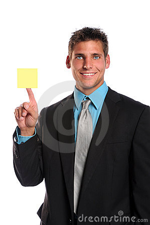 Businessman Holding Adhesive Note