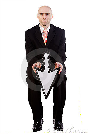 Free Businessman Holding Arrow Stock Image - 5228051