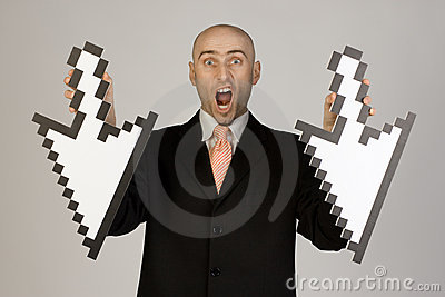 Businessman holding arrows