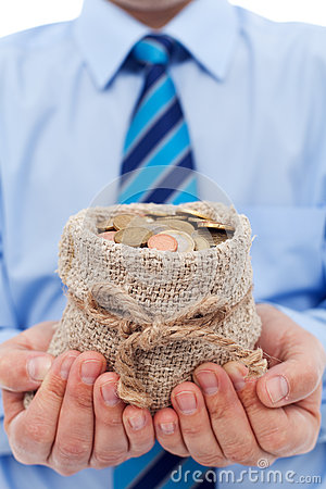 Businessman holding a bag of euro coins