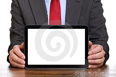Businessman holding blank digital tablet