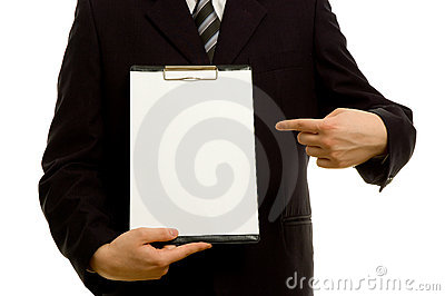 Businessman holding a blank notepad