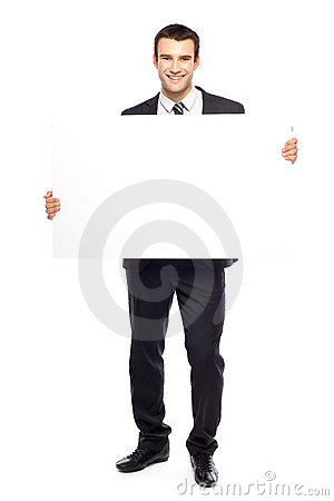 Free Businessman Holding Blank Poster Stock Photography - 21684282