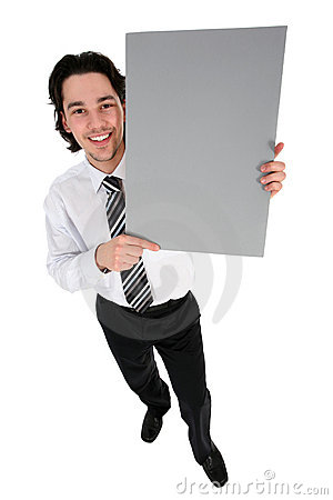 Free Businessman Holding Blank Poster Stock Image - 4821041