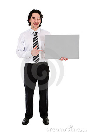 Free Businessman Holding Blank Poster Stock Photography - 4821062