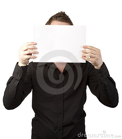 Free Businessman Holding Blank Sign In Front Of Face Stock Photography - 19705622