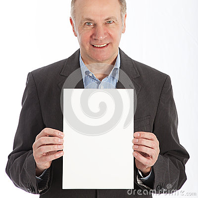 Businessman holding blank white card