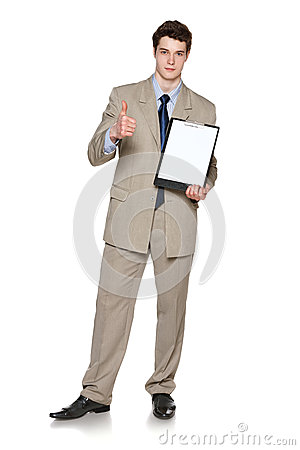 Free Businessman Holding Blank Whiteboard Showing Thumb Up Royalty Free Stock Photos - 31591868