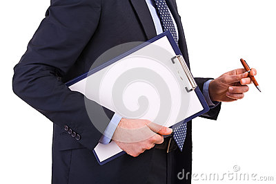 Businessman holding a clipboard.