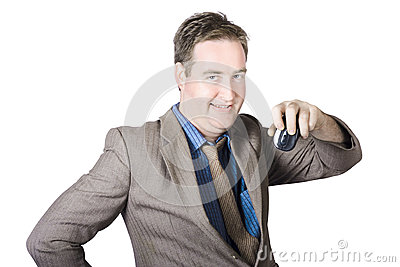 Businessman Holding Computer Mouse