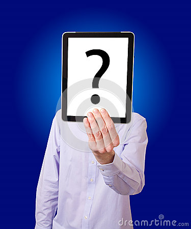 Businessman holding digital tablet with question