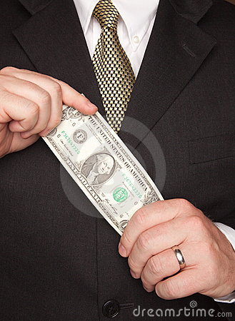 Businessman Holding Dollar Bill