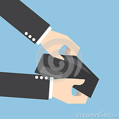 Businessman holding an empty wallet Vector Illustration