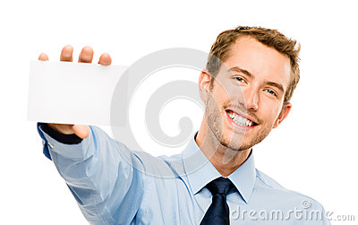 Businessman holding empty white placard showing copy space