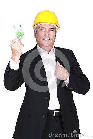 Businessman holding a 100 euro note