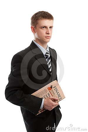 Businessman holding financial paper