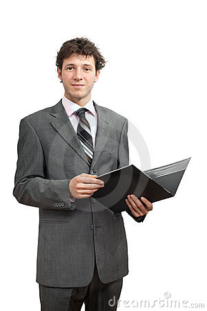 Businessman holding folder