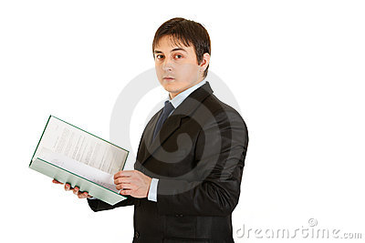 Businessman holding folder with documents in hand