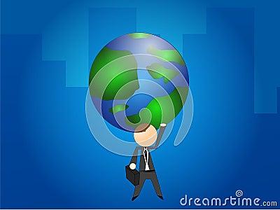 Businessman Holding the Globe