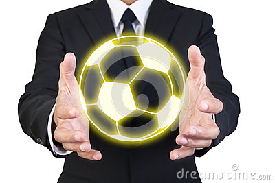 Businessman Holding Graphic Gold Football Stock Photography - Image: 25356952