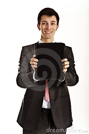 Businessman holding iPad Editorial Photography