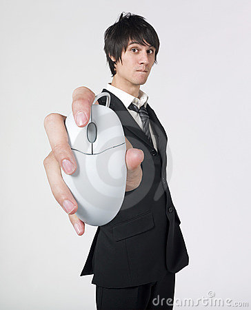 Businessman holding mouse computer