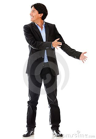 Businessman holding an object