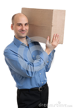 Businessman holding a package parcel