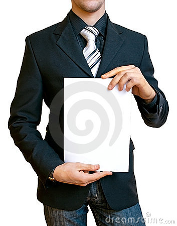 Businessman holding the paper