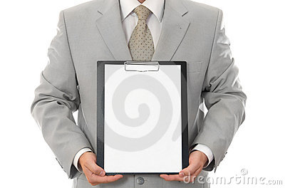 Businessman, holding paper sheet with empty space