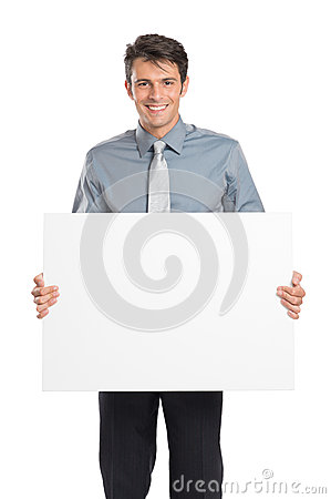 Businessman Holding Placard Sign